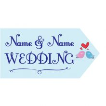 wedding road sign blue