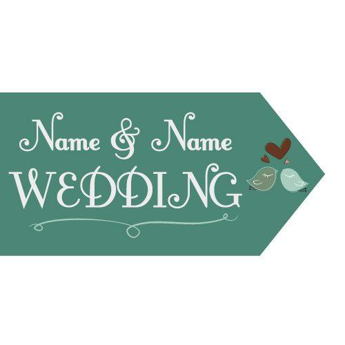 Wedding Road Sign Green