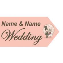 wedding road sign pink couple