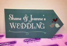 Wedding Road Sign Green