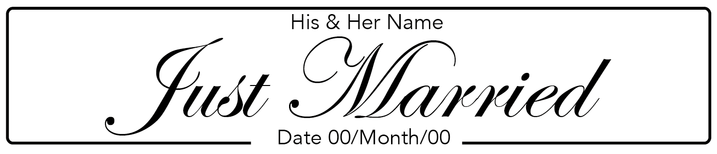 Just Married Italic Wedding Number Plate
