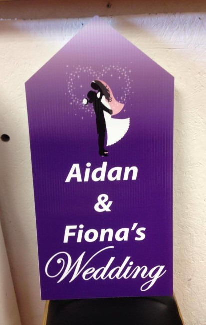 Wedding Road Sign Purple