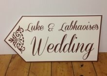 wedding road sign ivory