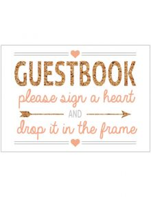 Guestbook Heart Sign - White