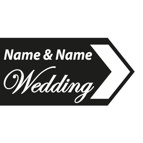 wedding road sign black