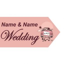 wedding road sign pink car