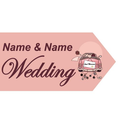 wedding road sign pink car