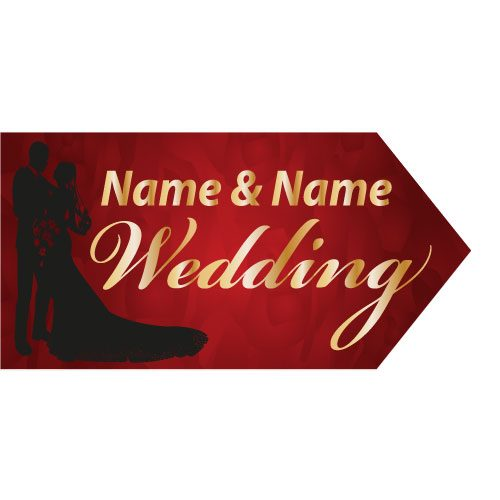 wedding road sign red