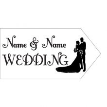 wedding road sign white couple