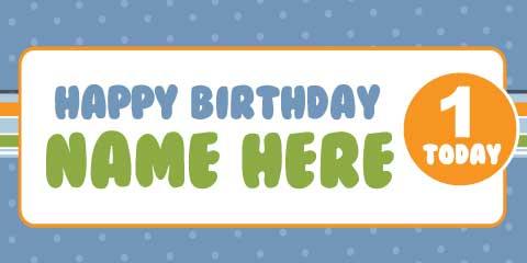 1st Birthday Banner - Blue