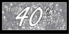 40th Birthday Banner - Grey