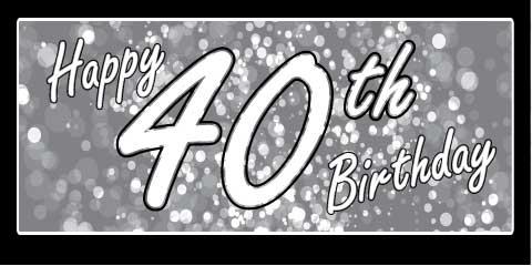 40th Birthday Banner - Grey