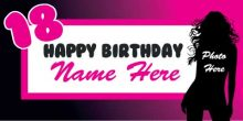 18th Birthday Banner - Black & Pink