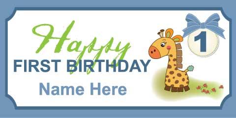 1st Birthday Banner - Giraffe