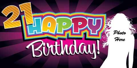 21st Birthday Banner - Purple Rays