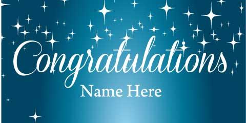 congratulations banner blue