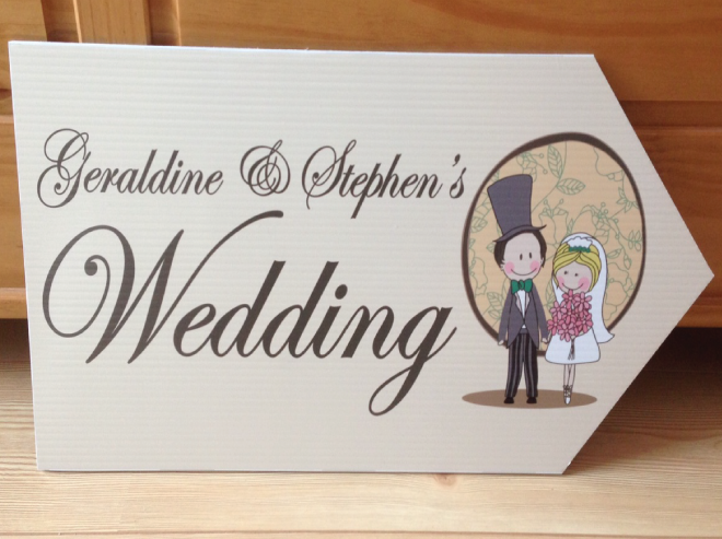 Wedding Road Sign Beige