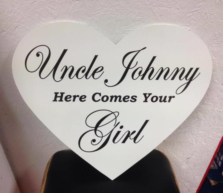 Wedding Sign Blue Heart