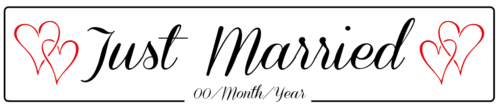 Just Married Hearts - Wedding Number Plate