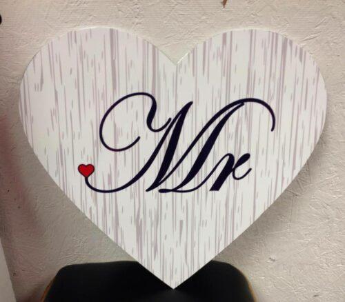 Wedding Sign Stripe Heart