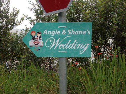 Wedding Road Sign Teal