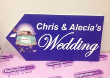 wedding road sign blue car