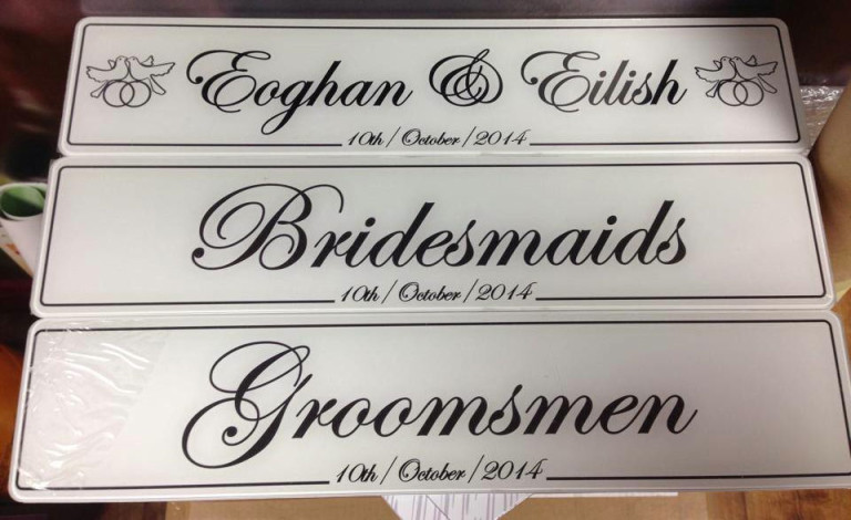 bridesmaids wedding number plate