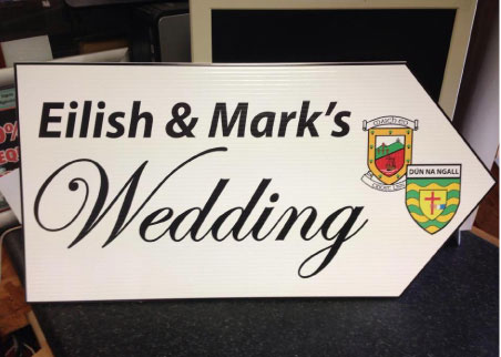 wedding road sign county crests