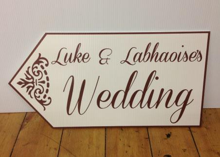 wedding road sign ivory