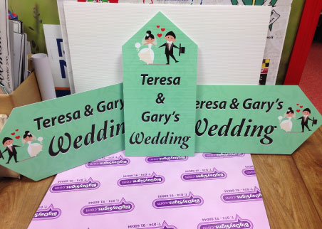Wedding road signs in mint green