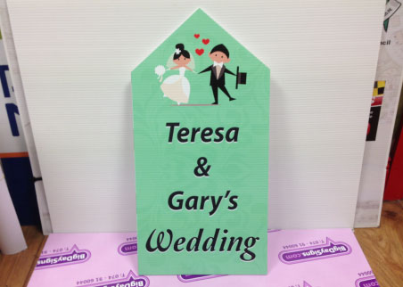 Mint coloured wedding road sign
