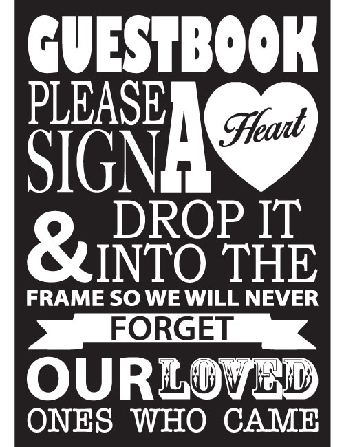 Guestbook Heart Sign - Black