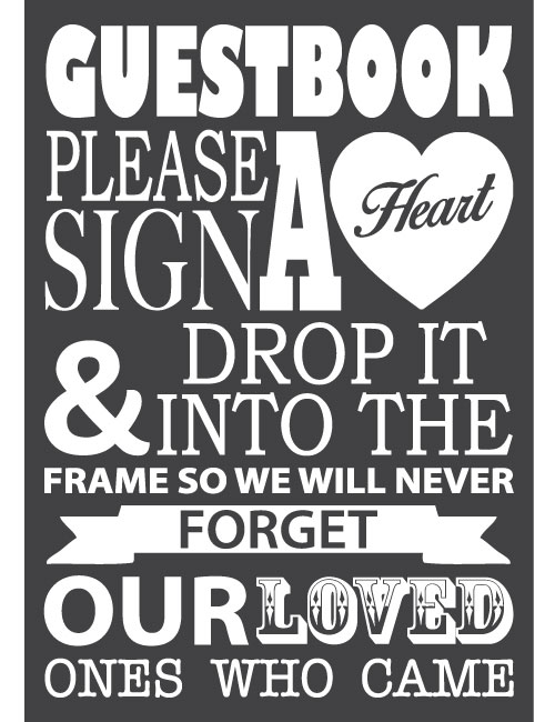 Guestbook Heart Sign - Charcoal