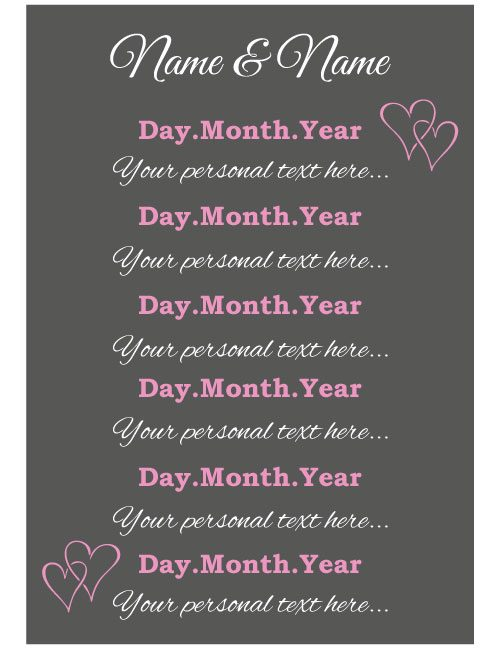 Timeline Sign - Charcoal & Pink
