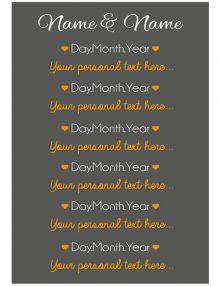 Timeline Sign - Charcoal & Orange