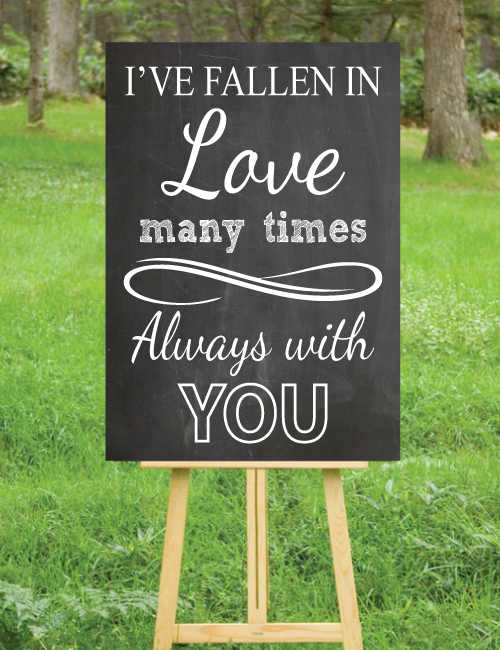 I've Fallen In Love Sign Chalk