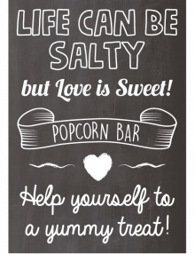 Popcorn Bar Sign - Chalk