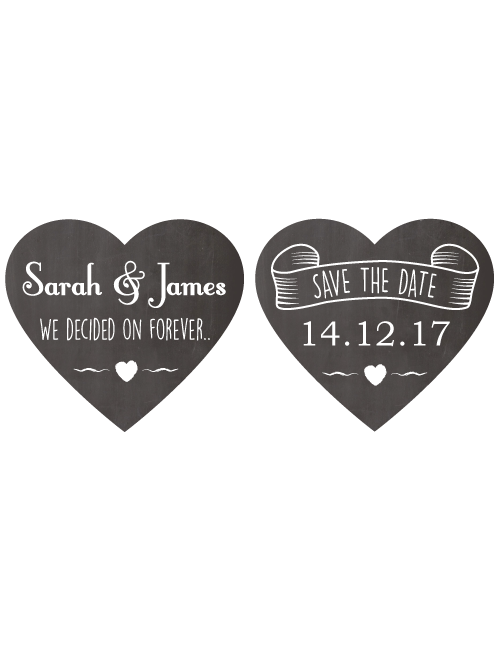 Save The Date Signs - Two Chalk Hearts