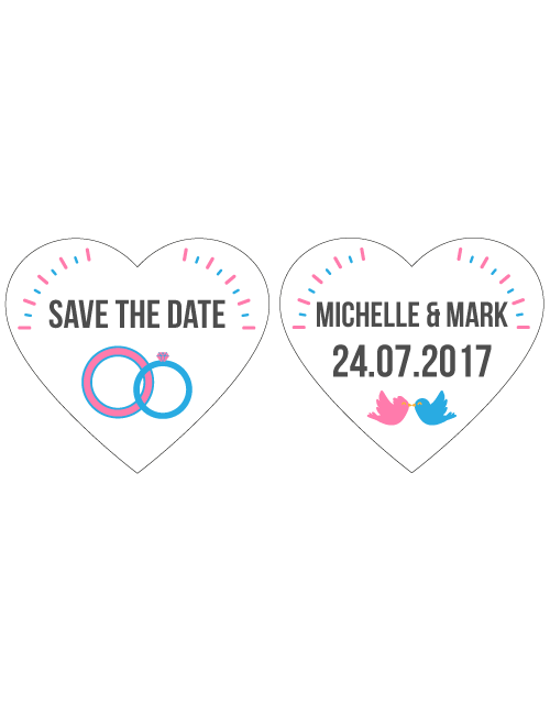 Save The Date Signs - Two Ring Hearts