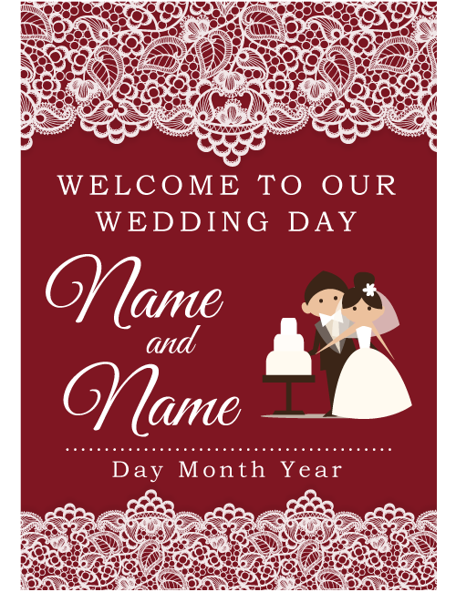 Welcome Sign - Burgundy Lace