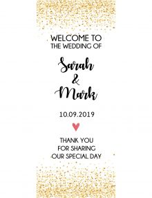 glitter pull up wedding banner