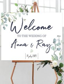 Welcome Sign - Green Leaf on stand
