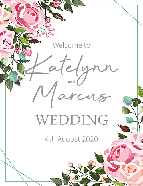 wedding welcome sign pink