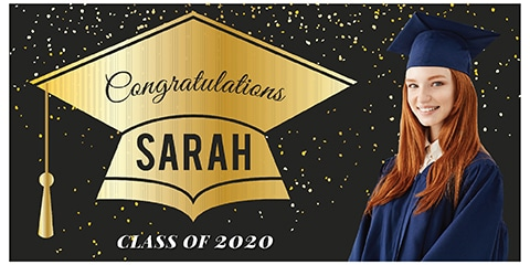 Graduation Banner Gold